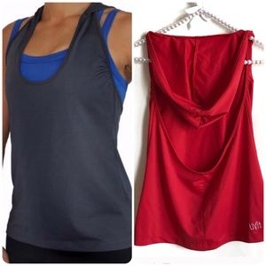 Red Hooded workout Tank Top S